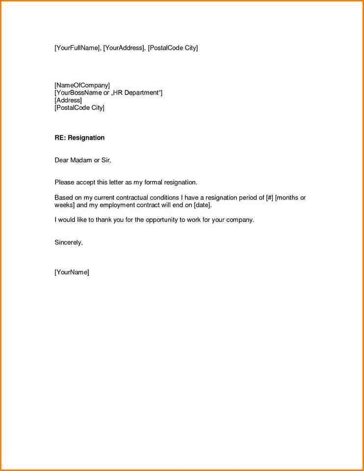 5+ resignation letter template | writable calendar