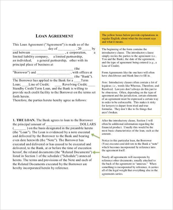 Loan Agreement Template - 9+ Free Word, PDF Document Download ...