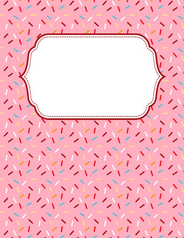 Free printable sprinkles binder cover template. Download the cover ...