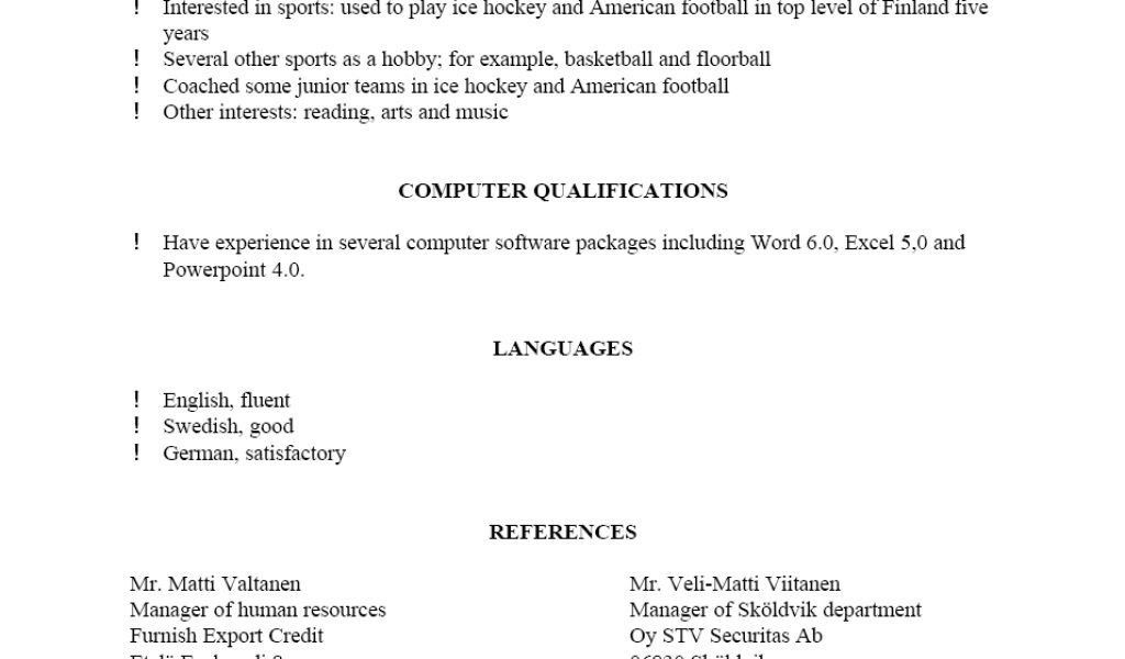 sample of resume with references resume reference page download ...