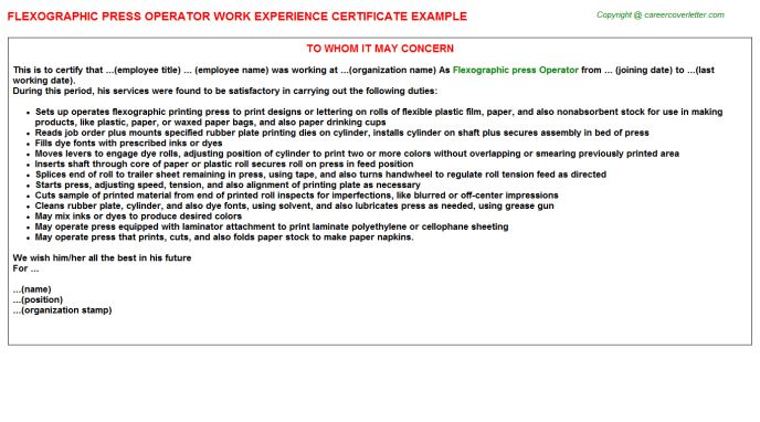 Printing Press Operator Work Experience Letters