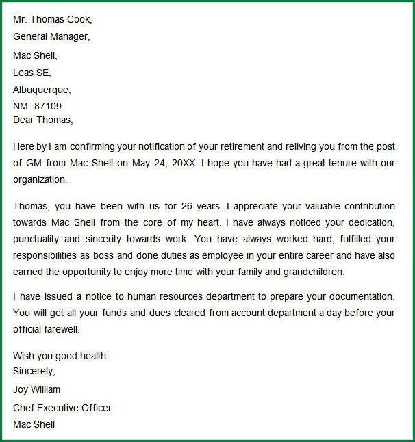 7 Retirement Letter Template   applicationsformat.info