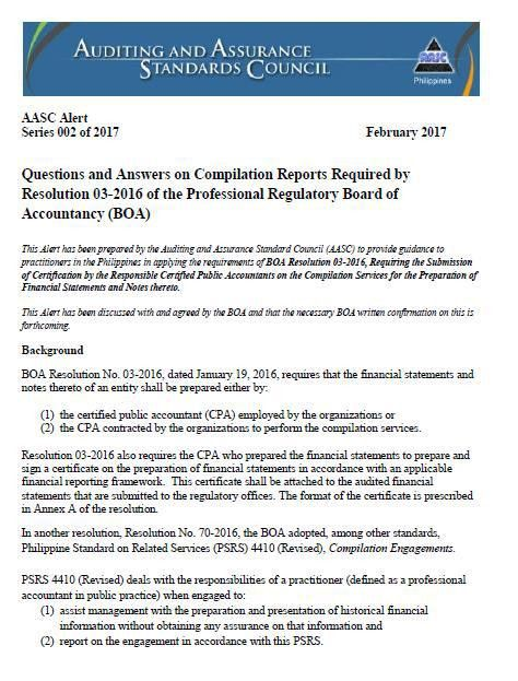 AASC Alert on Compilation Reports Required by BOA Resolution No ...