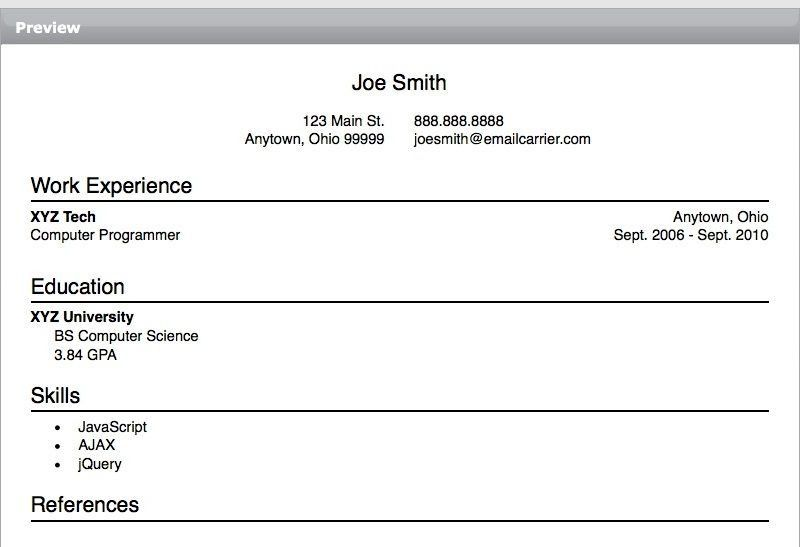 Simple Resume Template Free Download. Basic Resume Format Big And ...