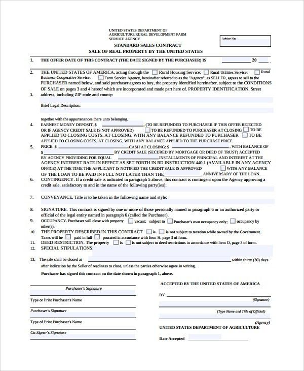 Property Sales Contract. Printable Sample Final Statement On Real ...