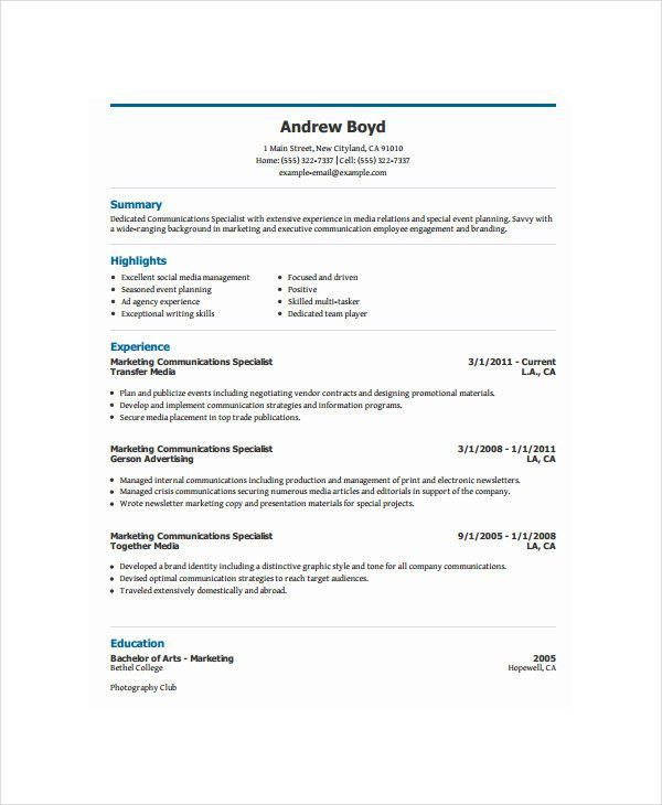 Marketing Resume Examples - 47+ Free Word, PDF Documents Download ...
