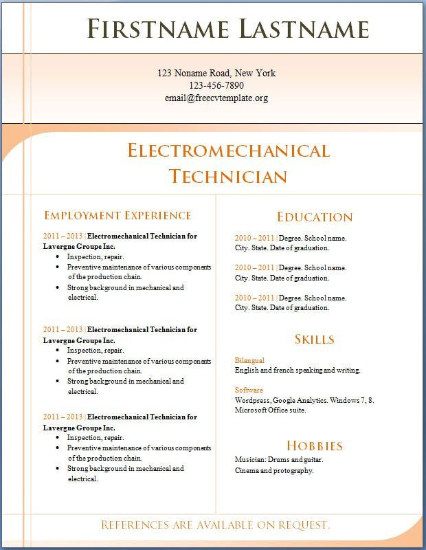 Free CV templates #1 to 7 Electromechanical Technician – Free CV ...