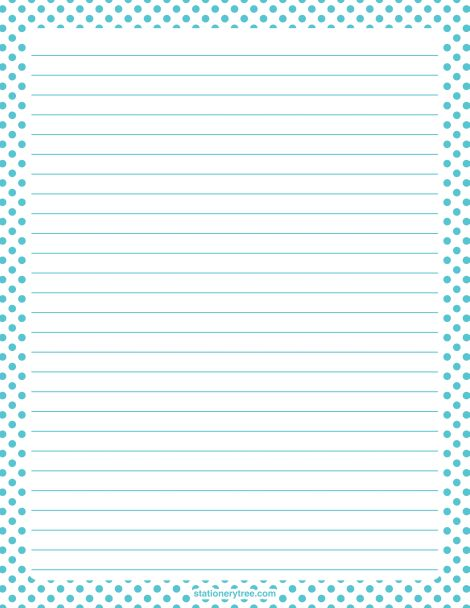 Printable blue and white polka dot stationery and writing paper ...