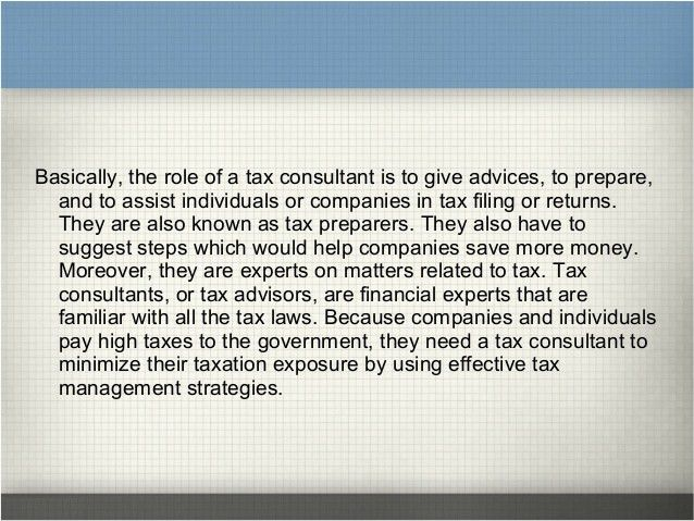 Duties and responsibilities of a tax consultant