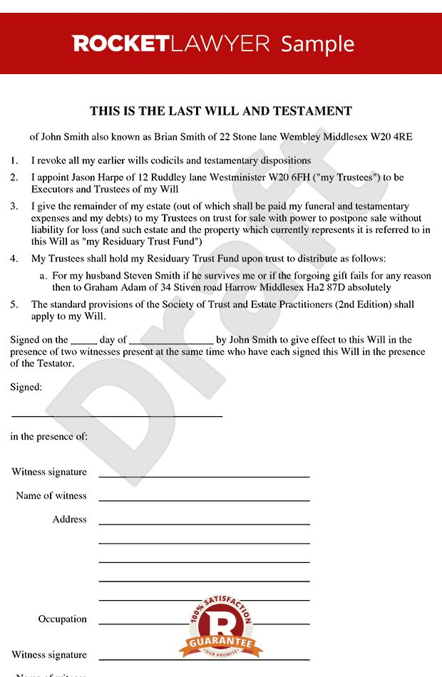 Template - Free Last Will & Testament Form Online