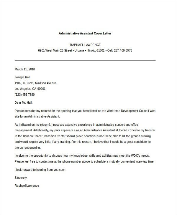 Sample Administrative Assistant Cover Letter - 7+ Free Documents ...