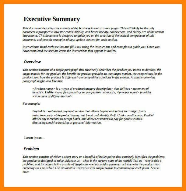 project executive summary sample