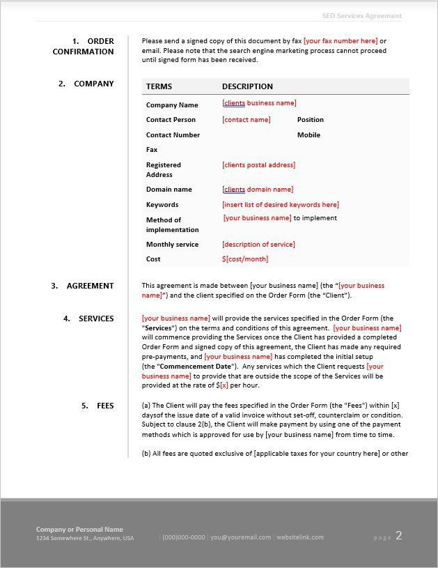 Freelance SEO Business Kit - 80 Contract & Document Templates ...