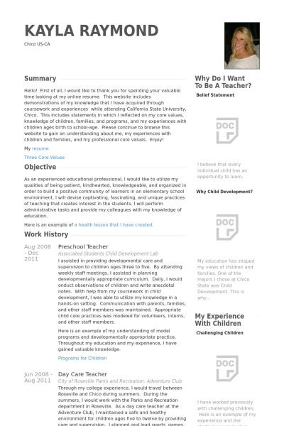 Preschool Teacher Resume samples - VisualCV resume samples database