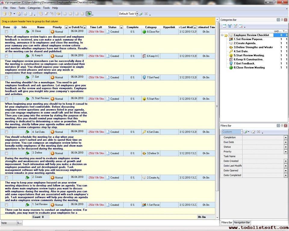Employee Review Checklist - To Do List, Organizer, Checklist, PIM ...