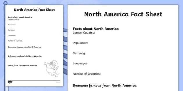 North America Factsheet Writing Template - north america, north