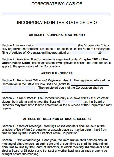 Free Ohio Corporate Bylaws Template | PDF | Word |