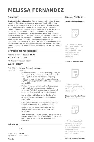 Senior Account Manager Resume samples - VisualCV resume samples ...