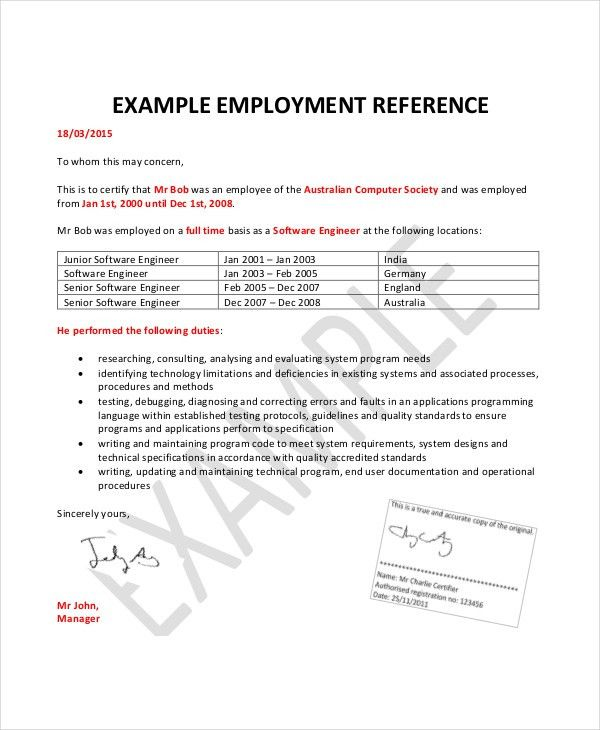 Employment Reference Letter For Australian Immigration Sample ...