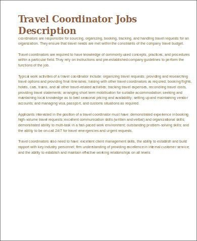 Travel Agent Job Description Sample - 9+ Examples in Word, PDF
