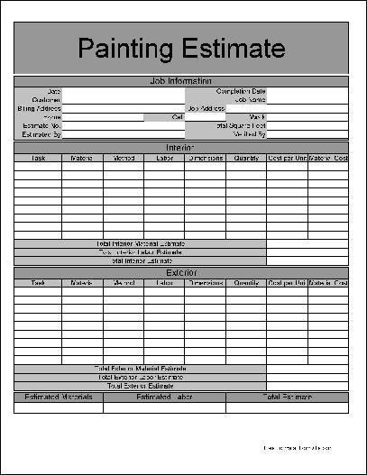 Free Basic Painting Estimate Form from Formville