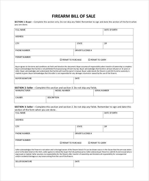 Sample Firearm Bill of Sale - 6+ Documents in PDF