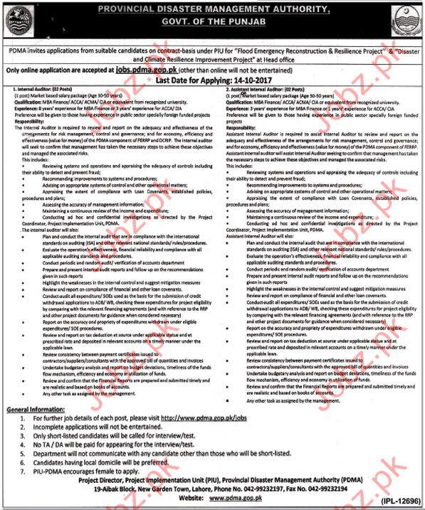 PDMA Internal Auditor & Assistant Internal Auditor Jobs 2017 Jobs ...