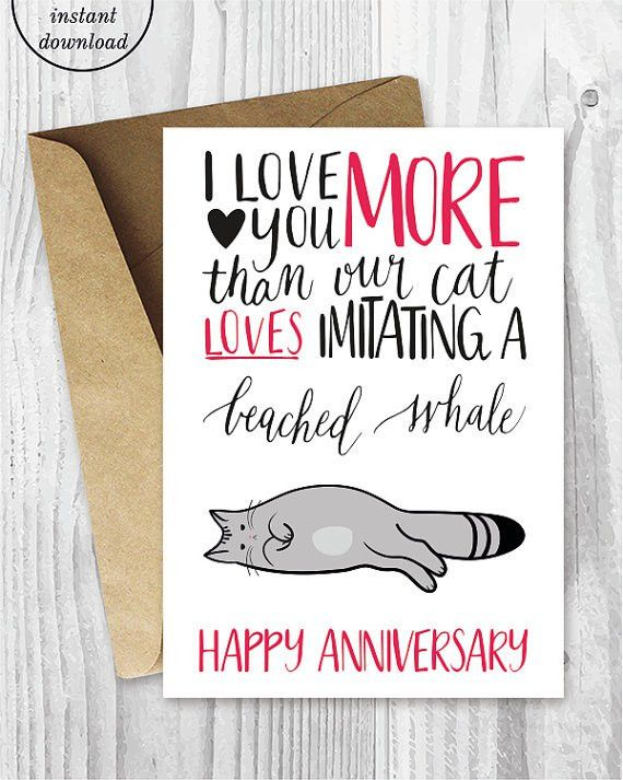 Anniversary Cards Instant Download Beached Whale Cat Funny