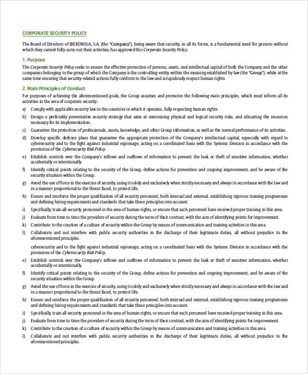 Security Policy Template - 7 Free Word, PDF Document Downloads ...