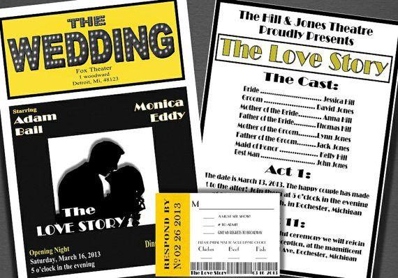 Broadway Theatre Style Wedding Invitation Theatre escort