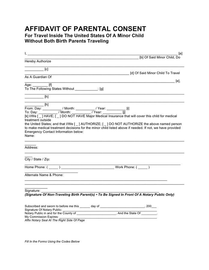 Affidavit of parental consent for travel in Word and Pdf formats