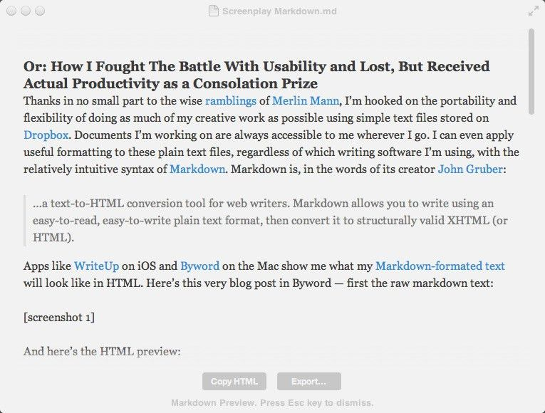 Screenplay Markdown — Prolost