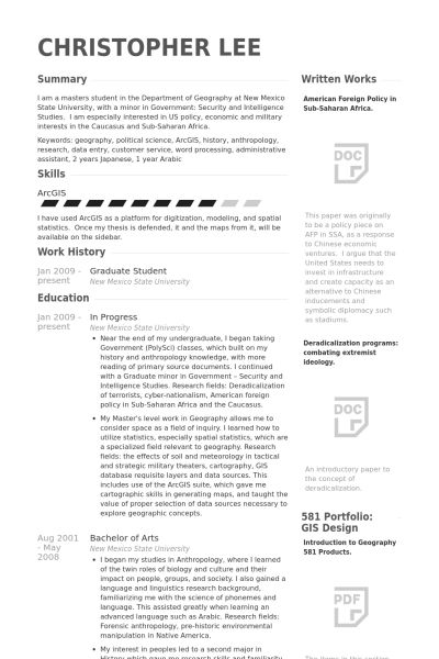 Graduate Student Resume samples - VisualCV resume samples database