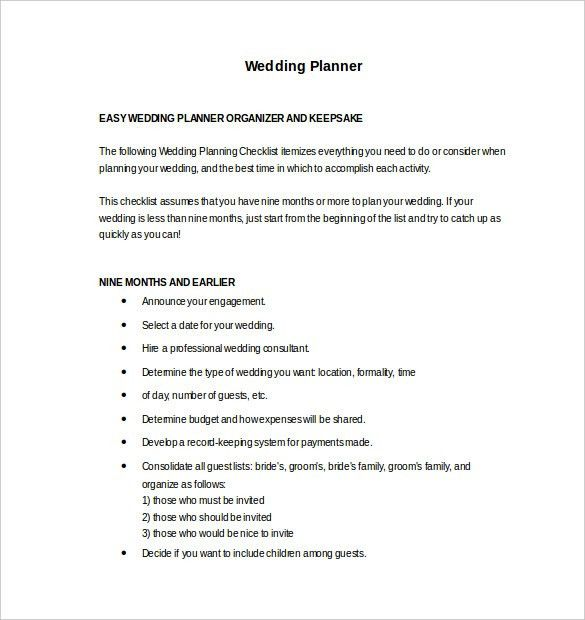 Wedding Planner Template – 10+ Free Word, PDF Documents Download ...