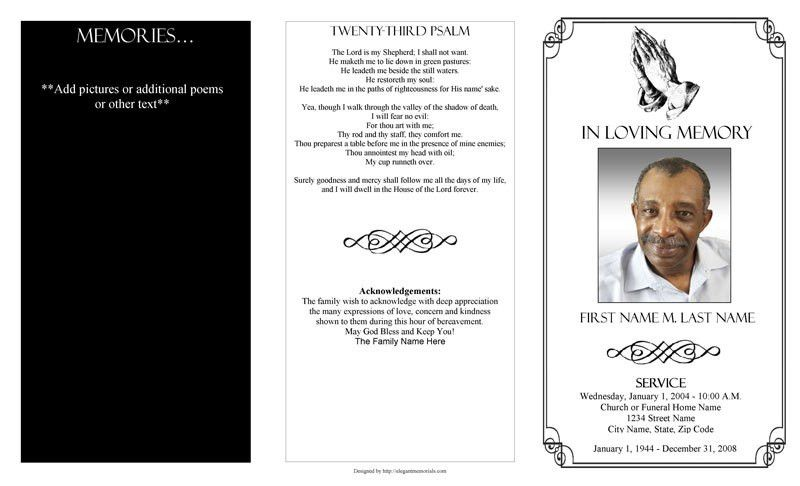 funeral program template microsoft