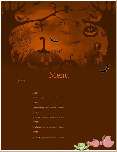 MS Word Halloween Party Menu Sheet | Word & Excel Templates