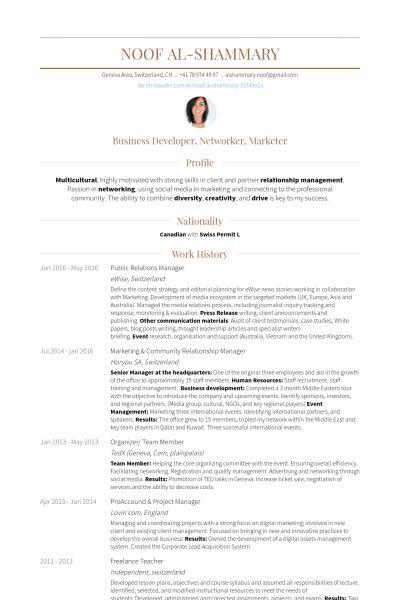 Relationship Manager Resume samples - VisualCV resume samples database