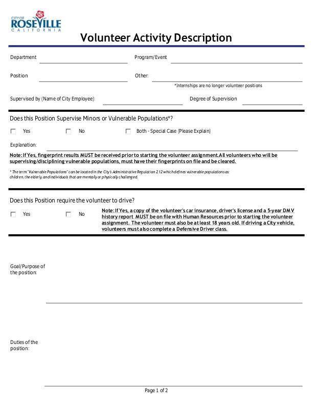 SAMPLE: Volunteer Job Description Form - City of Roseville, CA ...