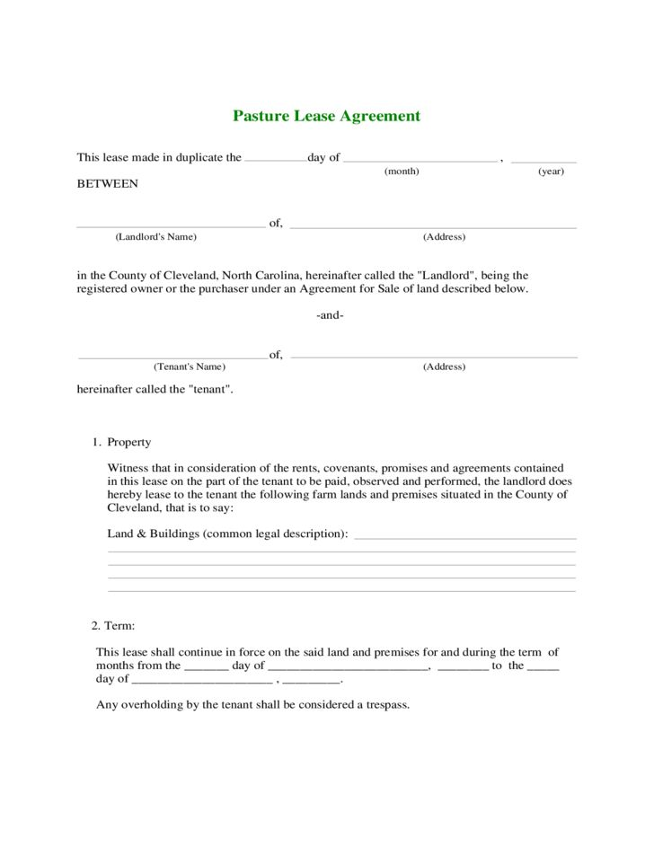 Farmland Rental and Lease Form Free Download