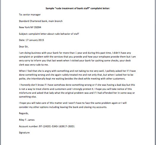 "Rude Treatment of Bank Staff"" Complaint Letter – Smart Letters"