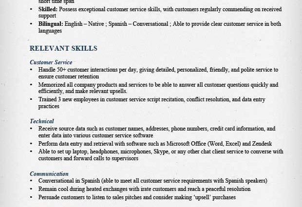 customer service call center fuctional resume sample ...