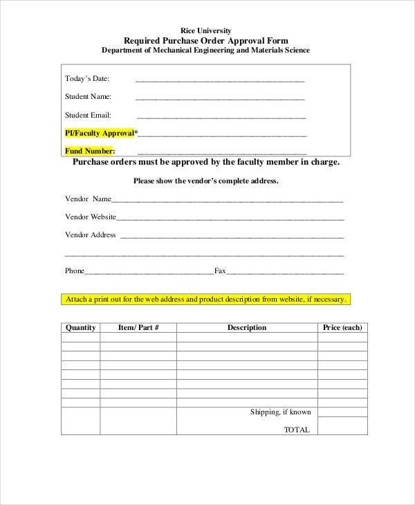 Purchase Order Form - 10+ Free Word, PDF Documents Download | Free ...