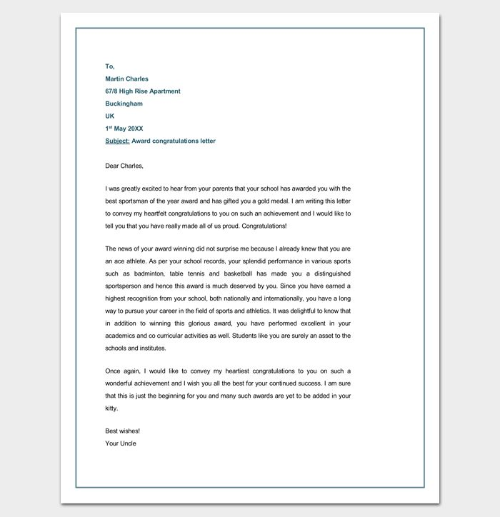 Congratulation Letter Template - 18+ Samples for Word, PDF Format