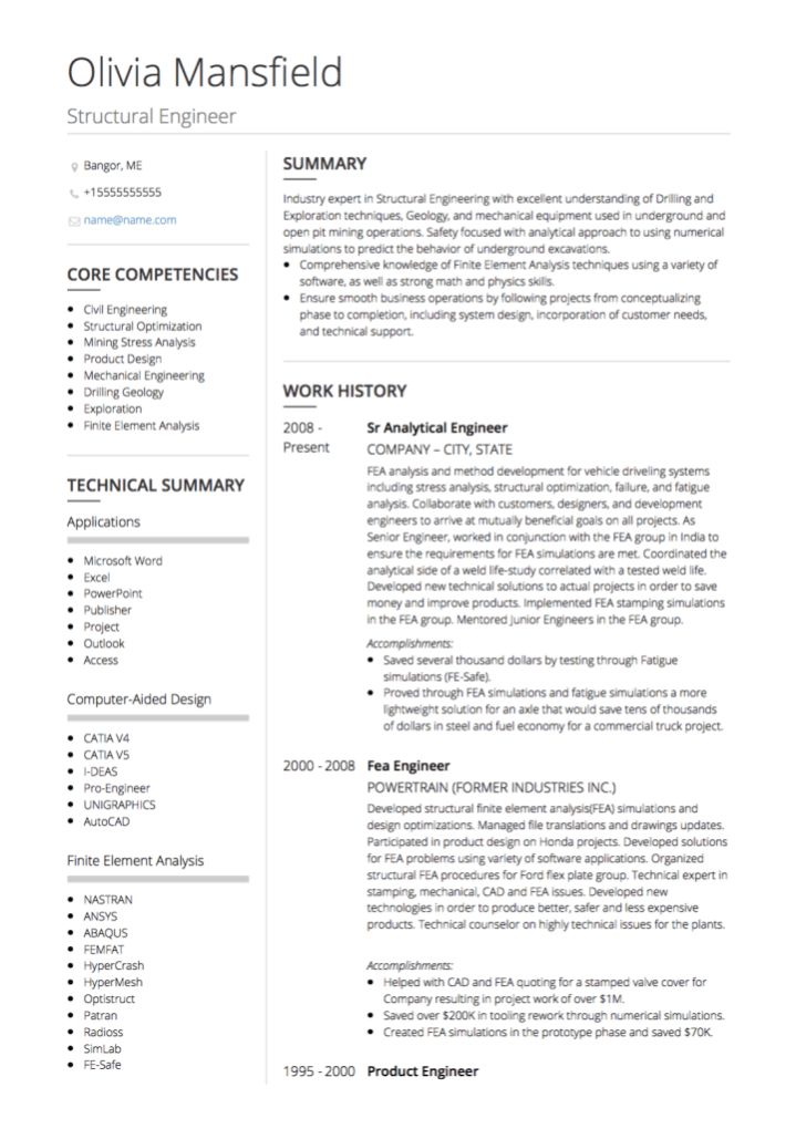 Civil Engineer CV examples and template