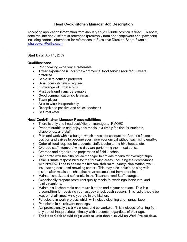 Example Of Cook Resume Resume - Schoodie.com