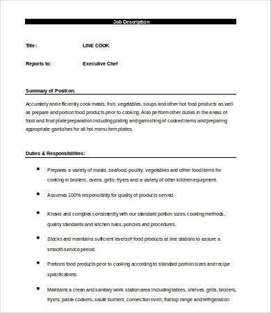 Line Cook Job Description Template - 7+ Free Word, PDF Documents ...