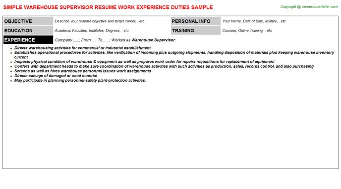 sample warehouse supervisor resume. impressive resume for ...
