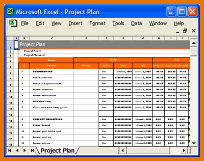 7+ excel project plan template | Itinerary Template Sample