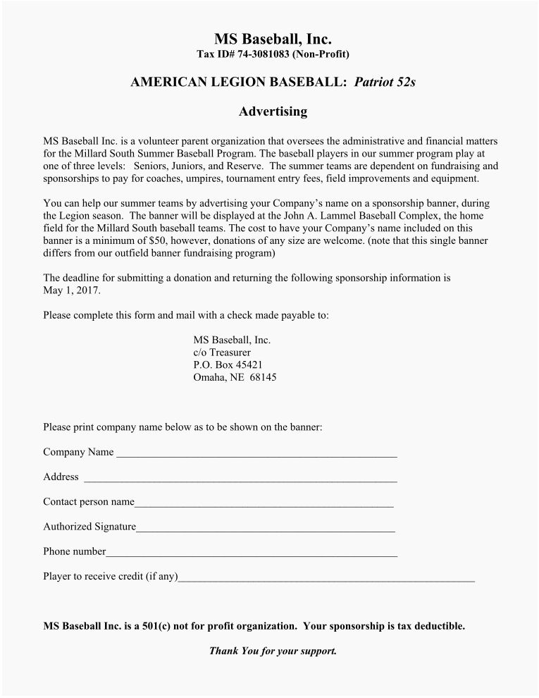 Sponsor/Donation Forms – Millard South Baseball & 52's Patriots ...