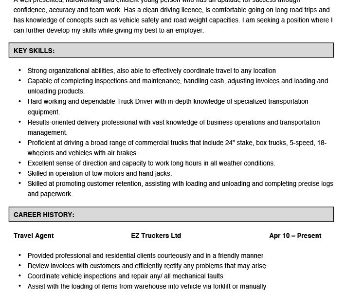 Projects Design Truck Driver Resume 10 Truck Driver Resume Example ...